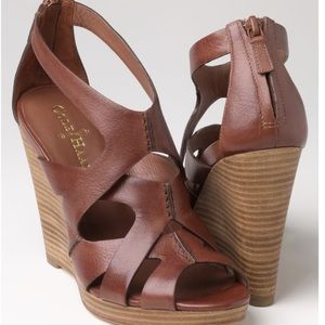 Cole Haan Kimry Brown Leather Caged platform wedge